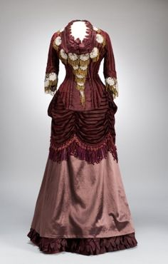 Burgundy cut velvet and rose silk dress with beaded embellishment, French, ca. 1875.