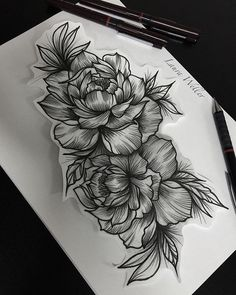 Black work peonies