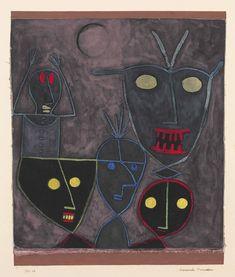 Paul Klee Demonic Puppets 1929 gouache and pen on linen laid down on card August Macke, Harlem Renaissance, Wassily Kandinsky, Paul Gaugin, Paul Klee Art, Marionette, Art Brut, Art Moderne, Art Abstrait