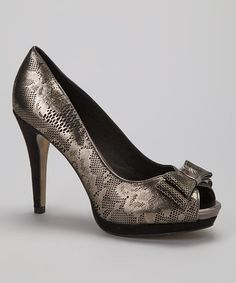 Take a look at this Black & Silver Suhona Peep-Toe Pump by Menbur on #zulily today!