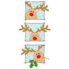 """Peeking Rudolph SquaresRubber Stampby Great Impressions H169size 2. """"W x 4""""H Rudolph the red nose reindeer Available mounted on wood or un-mounted on Cling"""