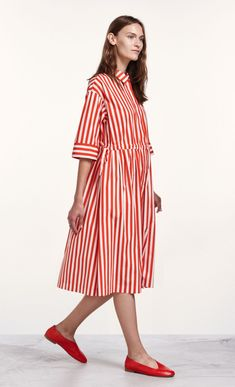 Reimi Tasaraita dress - red, off-white - Marimekko.com