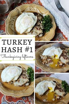 This is a great way to reinvent boring turkey leftovers. Making a hash from leftover mashed potatoes and turkey is genius.
