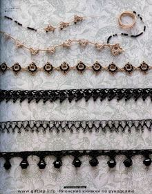 Beautiful beaded edgings: great ideas for crochet jewelry (lots of patterns with charts) - all make me want to cry since I so don't understand the patterns, LOL, but who knows I figure them out one day. Thread Crochet, Crochet Motif, Crochet Lace, Crochet Patterns, Crochet Edgings, Jewelry Patterns, Beading Patterns, Crochet Boarders, Quick Crochet