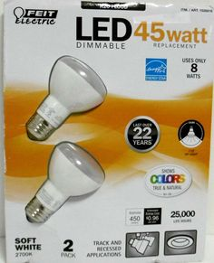 45 WATT LED FLOOD BULBS DIMMABLE 2 PACK FEIT ELECTRIC R20 Uses Only 8 Watts B43 #FeitElectric