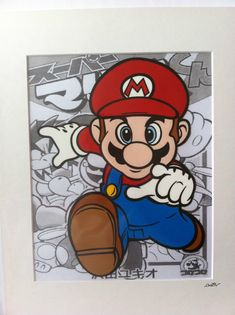 Super Mario – Hand drawn & hand painted on acetate and then mounted to create an animation style piece of art. Cool Art Drawings, Disney Drawings, Deadpool Art, Mask Painting, Super Mario Art, Cute Paintings, Mario And Luigi, Disney Art, How To Draw Hands