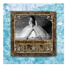 Birthday Party Invitation Quinceanera Vintage Photo Card Western Star Blue Damask and Wood Frame.