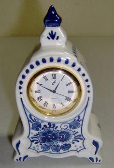 Miniature Delft Quartz Clock Pottery Hand Painted Holland Blue White Floral Mini