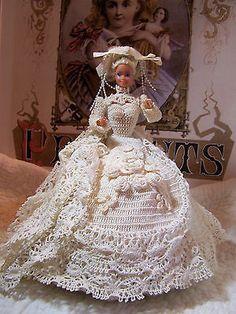 Vintage Barbie Doll Dressed as Beautiful Bride~ Crochet Gown & Train Handmade