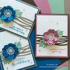 Botanical blooms with swirly scribbles dies from Stampin' Up! Pretty Cards, Cute Cards, Diy Cards, Tarjetas Stampin Up, Karten Diy, Birthday Cards For Women, Up Book, Stamping Up Cards, Sympathy Cards