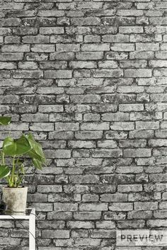 Buy Grey Metallic Brick Wallpaper from the Next UK online shop Brick Feature Wall, Feature Wall Living Room, Brick Wallpaper Bedroom, Accent Wall Bedroom, Grey Wallpaper Brick, Wall Wallpaper, Feature Wallpaper, Teen Girl Bedrooms, Bedroom Boys