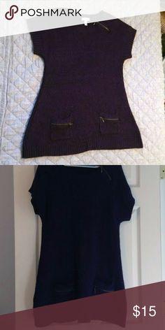 Dress Barn Purple Knit Sweater Dress Dark purple and black acrylic yarn knitted into a comfy, cute sweater dress, with zipper detail on the neckline pockets. Dress Barn Dresses