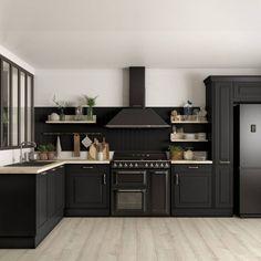 Cuisine noire Cuisine Plus Kitchen Cabinet Storage, Kitchen Cabinet Design, Modern Kitchen Design, Interior Design Kitchen, Kitchen Cabinets, Kitchen Faucets, Kitchen Organization, Black Kitchens, Cool Kitchens