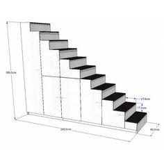 Meuble escalier pour mezzanine avec rangements sur mesure