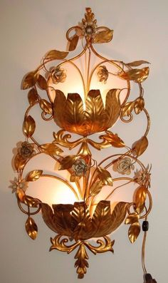 Vintage Hollywood Regency Wall Sconce Ornate Large Metal Tole by JunquePro on Etsy