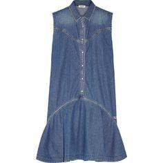 KENZO Ruffled denim mini dress ($455) ❤ liked on Polyvore featuring dresses, blue, denim dress, blue mini dress, multicolor dress, multi colored dress and frilly dress