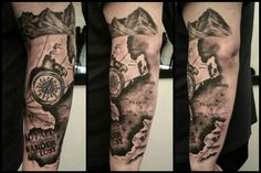 Map and compass tattoo by me  Ladytattooer at Devilish Ink  Chesterfield