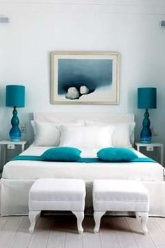 White & teal bedroom, this I like. Teal as pop of color.