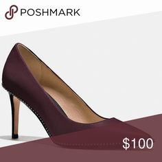 Maroon Coach Studded Pumps In stores now, retails for 235 dollars. Brand new never worn, received as a gift. Comes with authentic coach box. Coach Shoes Heels