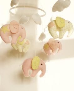 .Elephant Baby Mobile Crib Decor - via @Craftsy