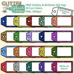Free Glitter Holiday & Birthday Gift Tags Clipart - Christ