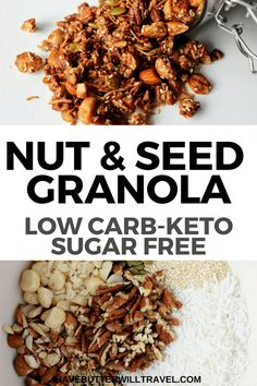 Rate: 8 NO LONGER than 10 min! 160 C A delicious healthy keto nut and seed granola recipe. Homemade grain free granola made easy using nuts, coconut, sweetener and spices. Ketogenic Recipes, Keto Recipes, Healthy Recipes, Pescatarian Recipes, Sauce Recipes, Desayuno Paleo, Keto Cereal, Low Carb Cereal, Low Carb Granola