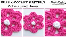 Vickies Small Flower Free Crochet Pattern - Right Handed, thanks so xox available as leftie too on her site ..