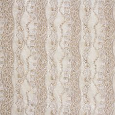 Taupe White Vertical Floral Stretch Lace Knit Fabric - A famous designer overstock store! Unique vertical floral stripes pattern stretch lace knit in pretty taupe color and white. Fabric has spandex for a lengthwise stretch, and mechanical crosswise stretch, finished selvedges, and is light to mid weight. See image for scale. :: $6.00