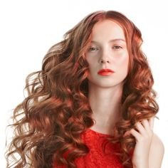Long Red Curly Hair | before curling hair separate your hair into sections so it is easier ...
