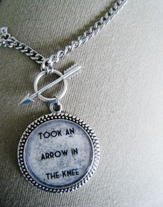 Skyrim Arrow in the knee Necklace by SuperfastSpider on Etsy, $9.99..if only my boyfriend was a girl shopping would be soo much easier..lol