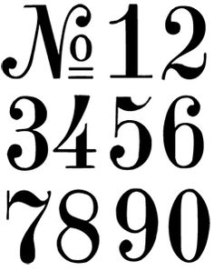 Numbers, practice freehand using this template. Also use for table numbers for weddings or special events.
