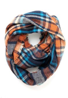 Campus Chill Scarf in Orange. Morning classes across the quad and study sessions in the library become infused with grade-A style when you wrap up in this plaid circle scarf! #orange #modcloth