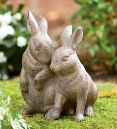 Snuggle Bunnies Durable Garden Statue