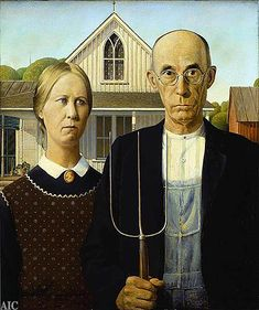 American Gothic by Grant Wood. This american midwestern classic depicts an old, aging, and slightly upset father standing beside his daughter. The father is concerned that his daughter appears to look the same age as him--and she is still unmarried, basically an old unmarried hag.