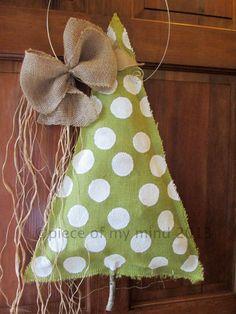 Burlap Christmas Tree Burlap Door Hanger Polka Dot by nursejeanneg