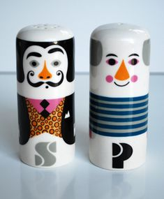 Ingela P. Arrhenius // Salt & Pepper.  My SIL @Tess Augustine mentioned unique S&P shakers a while back so now I can't stop looking at them... now I'm pinning them... I'm a lunatic.