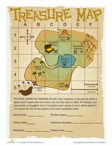 Treasure Map worksheet made for kids to learn the basic coordinate skills. Made for Education.com