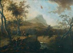 MOUCHERON Frederik de (Emden 1633 - Amsterdam 1686) Paysage de la campagne italienne avec pâtres et villageois. Huile sur toile.
