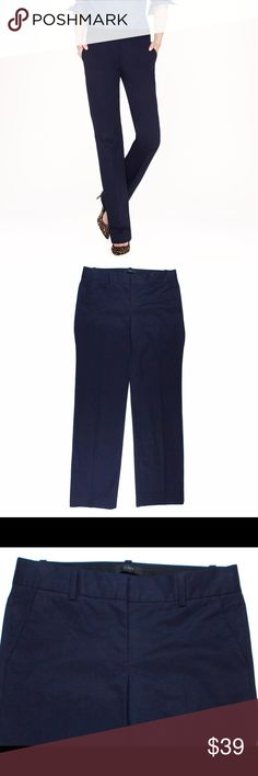 "JCREW Navy Blue Cafe Trouser Pants Excellent condition! These navy blue cafe trouser pants from JCREW feature a zip tab closure, straight leg and are unlined. Made of a cotton blend. Measures: waist: 29"", rise: 8"", hips: 37"", inseam: 29"" J. Crew Pants Trousers"