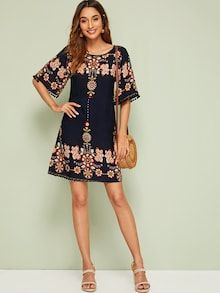 To find out about the Floral Print Pom Pom Cuff Tunic Dress at SHEIN, part of our latest Dresses ready to shop online today! Dress Out, Hot Dress, Casual Dresses, Dresses For Work, Summer Dresses, Women's Dresses, Shorts Boho, Dresses Online Australia, Pom Poms