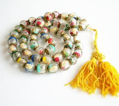 Vintage Chinese Reverse Painted Glass Bead  Buddhist Prayer Necklace