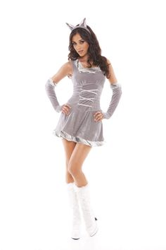 Charming Foxie Costume - three piece costume set includes dress, gloves and head piece. Charming costume for Halloween or costume party.
