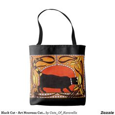 50%off till Midnight code:ZAZTOTACULAR Black Cat - Art Nouveau Cat Art Tote Bag by #dorahathazi black cat, cat art, cat painting, for children, cat, art, cats, whimsical, art nouveau, halloween, quirky, colorful, gatos, floral, kitty, kitten, feline, fant