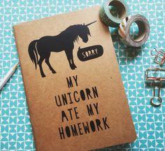 Kraft Notebook Travel Journal School Exercise | Unicorn Quote 'My Unicorn Ate My…