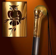 Handmade Walking Cane / Handmade Walking Stick: OWL by Boris Palatnik 147SA