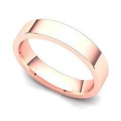 14k Rose Gold 4mm Classic Plain Flat Wedding Band Ring Juno Jewelry. $239.00