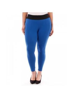 Plus Size Blue Stretch Leggings