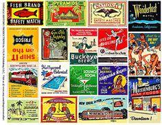 Matchbook Cover Art - Printed Matchbook Clip Art, Lounge Bar Art, Match Box Covers, Wood Match Box, Altered Art Supply, Collage Clip Art, 9a