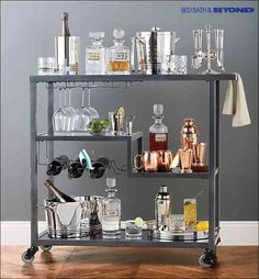 Diy Furniture Short on counter space for holiday get-togethers? Roll in this bar cart for an instant and fun space-saving solution. It's the most stylish and functional way to display all of your party drinks, glassware and hors d'oeuvres. -Read More – Bar Deco, Bar Cart Decor, Ikea Bar Cart, Bar Cart Styling, Home And Deco, My New Room, Bars For Home, Apartment Living, Living Room