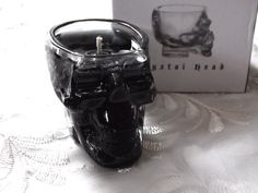 SALE Black Skull Crystal Head Vodka Shot glass Gel Candle Lavander Scent w/ Gift Box on Etsy, $7.79